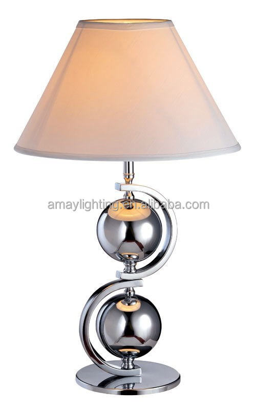 Briefness decorative generous hotel table light with square base in chrome and warm light table light
