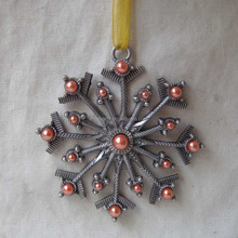 Snowflake Design Gold Orange Pearls Jeweled Christmas Hanging Ornament( P120072b)