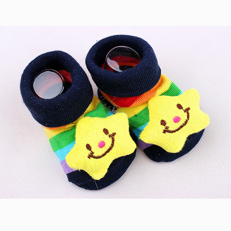 4pairs/lot 2015 New Baby cartoon cute socks color non-slip Stereo socks  0~6 months of age free shipping multiple Color random