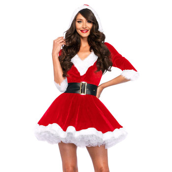 Terciopelo Rojo Con Capucha Vestido Sexy Mujer Adulta Traje De Santa Claus Buy Traje De Santa Claustraje De Santa Claus Para Niñastraje De Santa