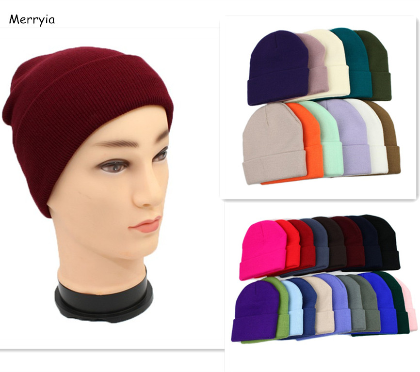 Custom Brand Leather Patch Woven Patch Winter Beanie Hats Unisex Plain Knit Hats
