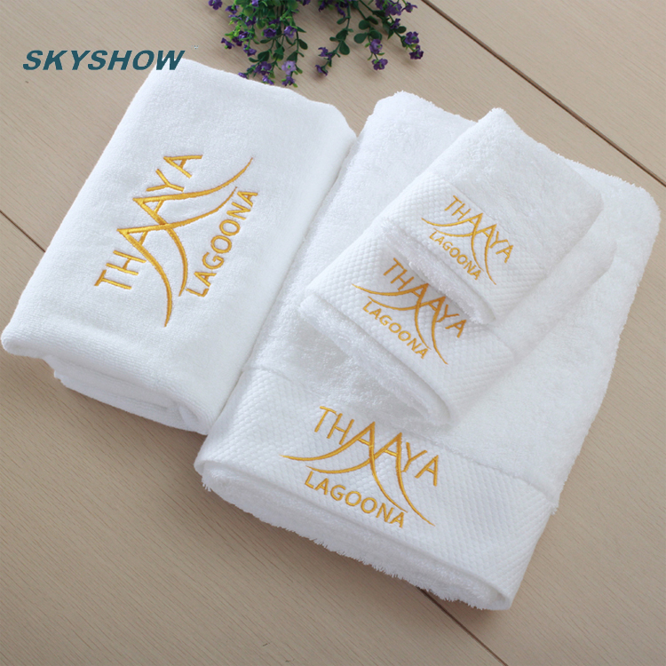 China Supplier Wholesale Luxury 100% Combed <strong>Cotton</strong> Pure Color 3Pcs Woven Terry Towel Set
