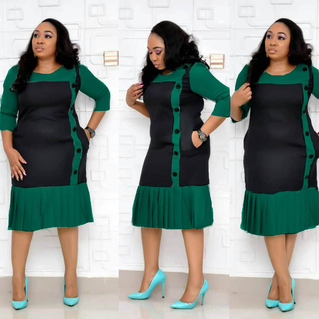 H & D New Arrival African Casual Dresses Plus Size Pleated Dress For Lady