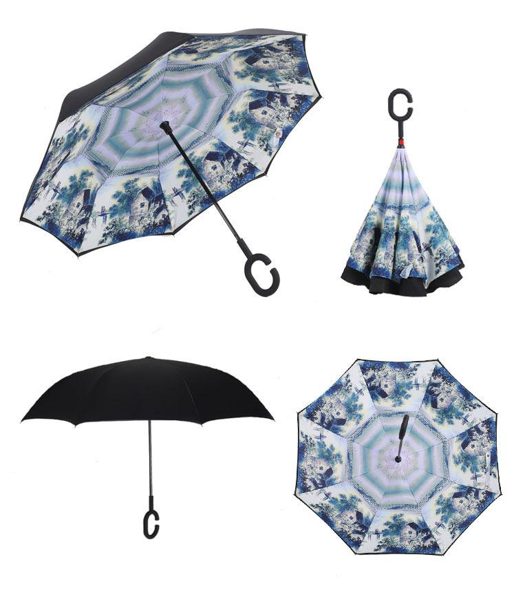 f18fa384cd67 Creative Reverse Umbrella Windproof Reverse Folding Double Layer Umbrella  Self Stand Inside Out Rain C-Hook Hands For Car - us338