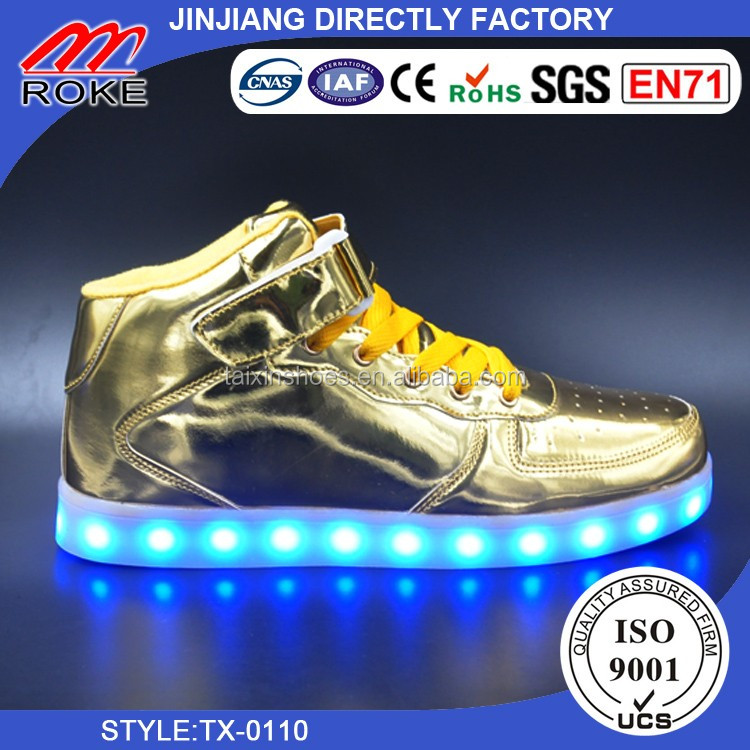 new design high top shoes led light running sports shoes Gold Silver high cut hig top led shoes