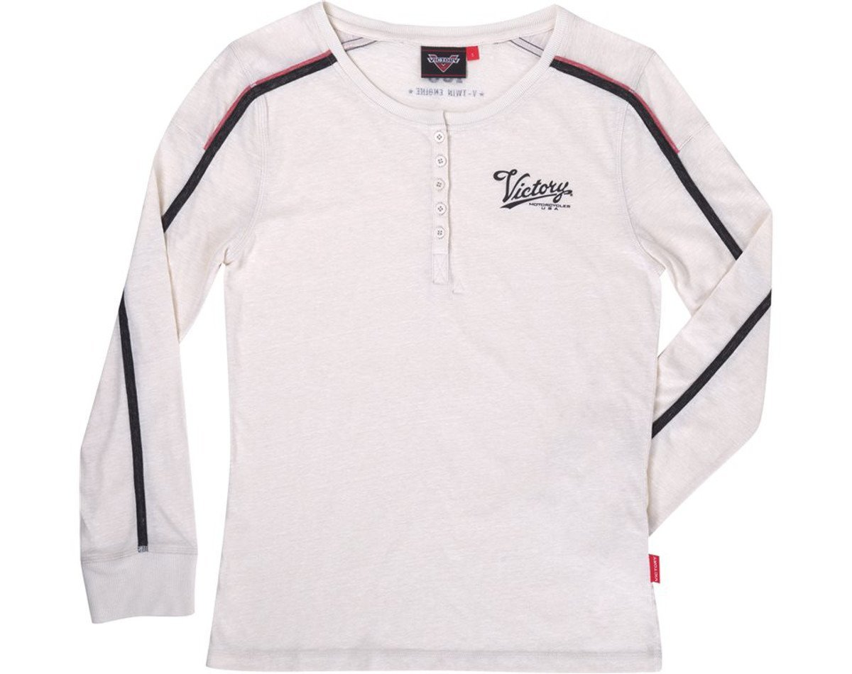 Victory Motorcycles Women's Long Sleeve Henley White (Large)