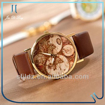 Popular design japan movement jewelry watch vintage leather world popular design japan movement jewelry watch vintage leather world map watch gumiabroncs Gallery