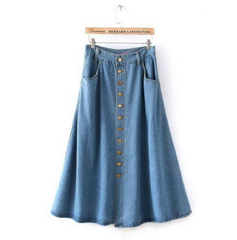 2d4dbc74b62 Fashion2Love Women s Juniors Mid Rise A Line Long Jeans Maxi Denim Skirt.  Sold by
