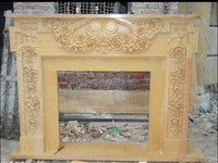 Yellow marble flower carved marble fireplace