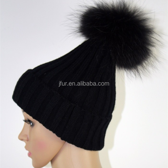 Real 30% Wool Long Beanie Hat with Genuine Raccoon PomPoms High Quality Store Sell Hat