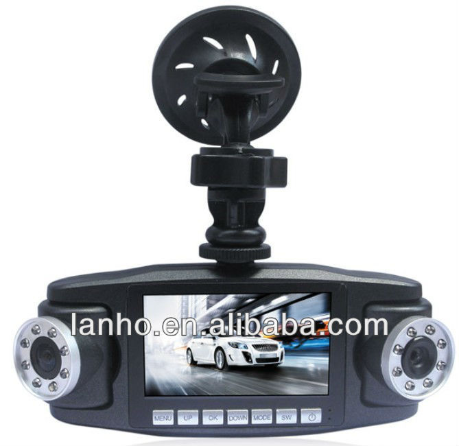 V60 Black, 2.7 inch TFT Screen Mini Dual Camera 1280x720P Car Camera Vehicle DVR with 16 Infrared Night Vision Lights,