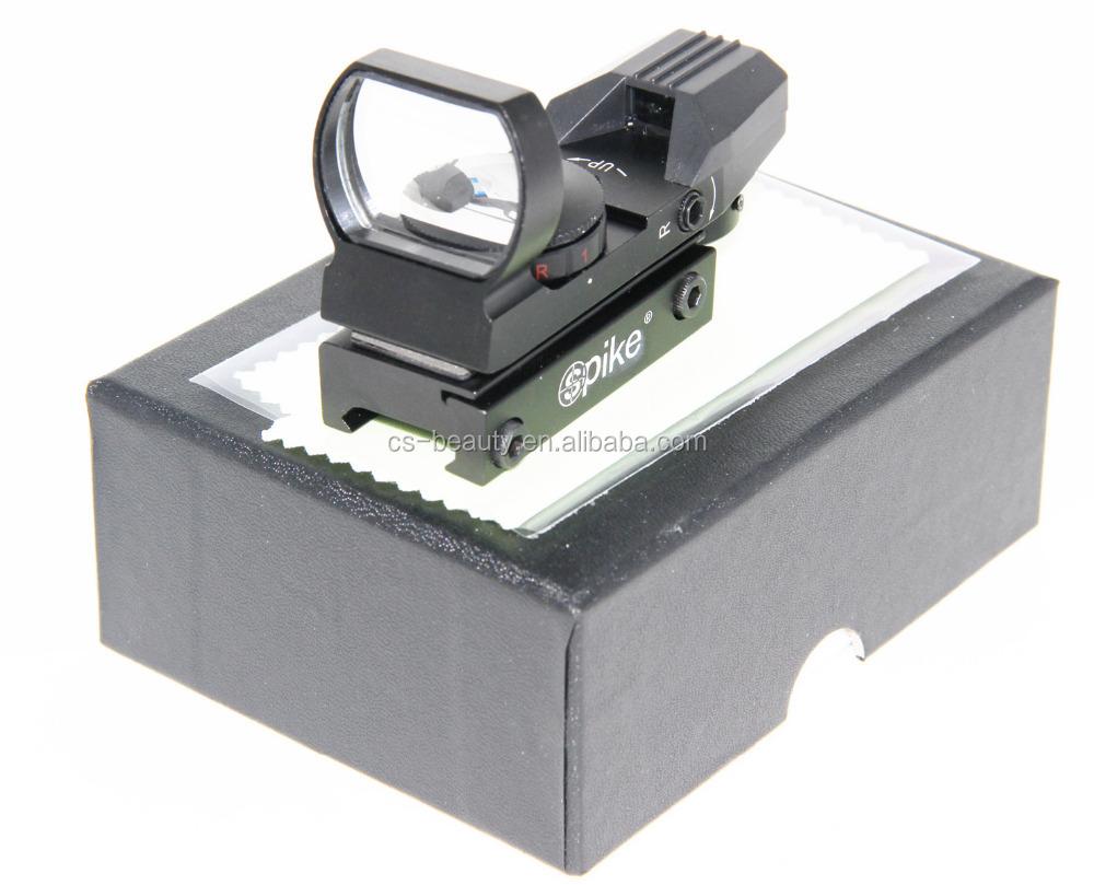 Drop Ship BLK Color Gun Optics Airsoft Tactical 4 Reticles Red Green Dot Reflex Sight Rifle Holographic Scope + Picatinny, Black