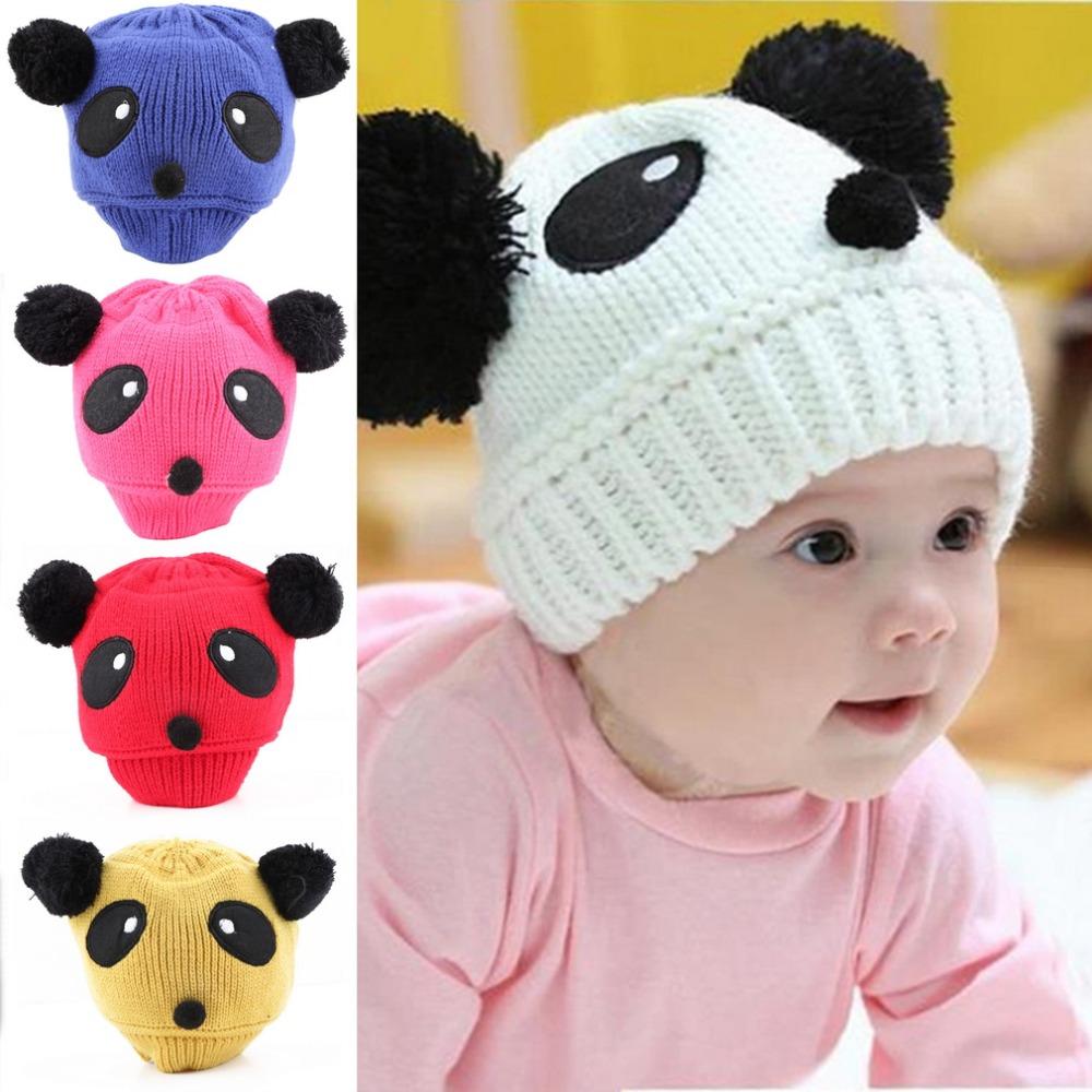 2e374217d6405 Lovely Animal Panda Baby Hats And Caps Kids Boy Girl Crochet Beanie Hats
