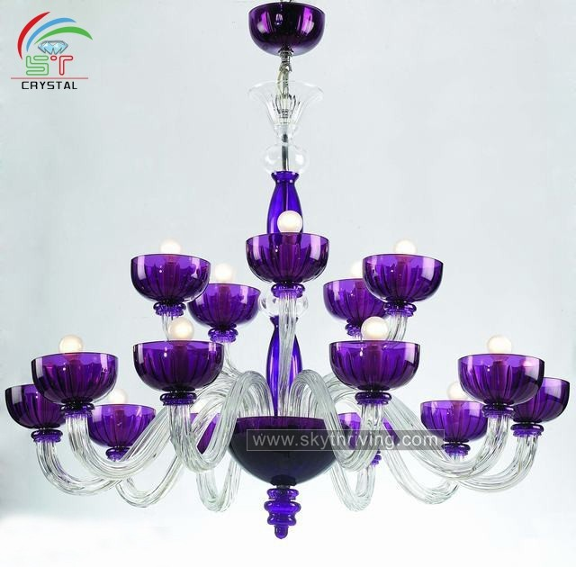 Hotel Hall Purple Murano Glass Chandelier Venetian Lighting For