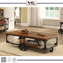 Industrial Furniture Iron Wheels Vintage Cart Coffee Table