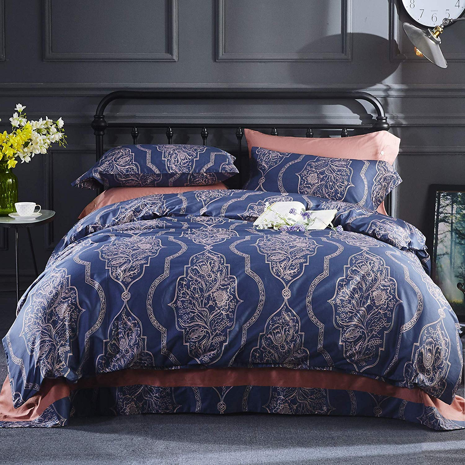 Asian Inspired Decorative Design Featuring Embroidered Orienta Duvet Cover Set Orient Sense Full Queen Black and White 3 Piece Coverlet Comforter 88x92 2 Pillows 20x26