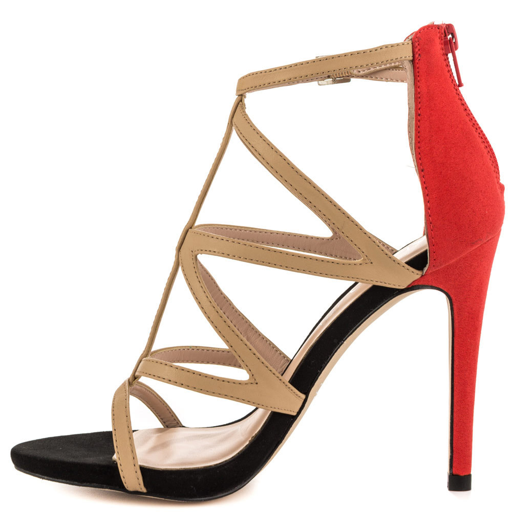 7387069d178d2 Get Quotations · Red   Yellow   Blue Cover Heel Women Sandal Back Zip Open  Toe Mature High Heels