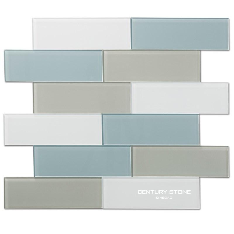 X Inch Blue Gray And White Crystal Glass Tile For Bathroom Wall - 3x8 tile backsplash