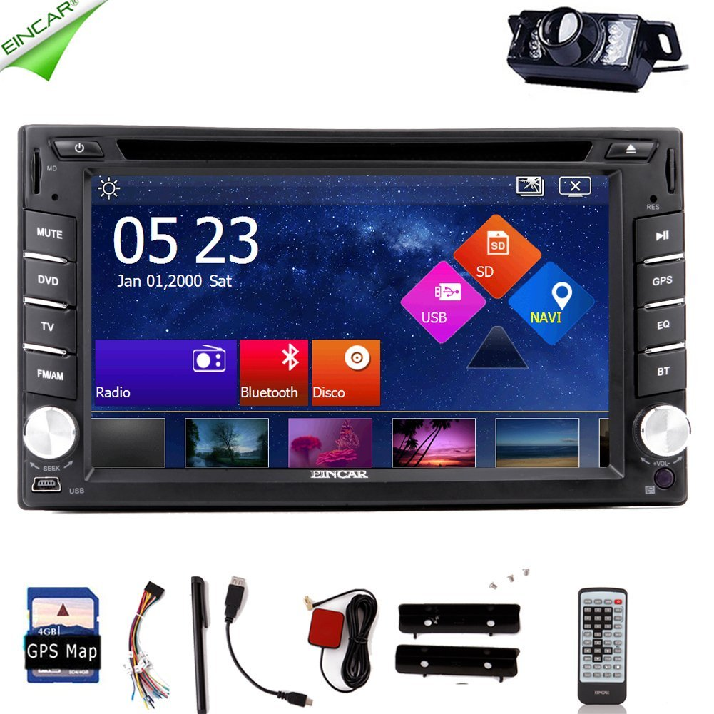 Eincar Car Stereo 6.2 INCH Radio Car DVD Player Radio Capacitive Touch Screen GPS Navigation Two-din Video In Dash Car Bluetooth DVD Player with GPS, Bluetooth/Ipod/4gb Card with Free Map Card+
