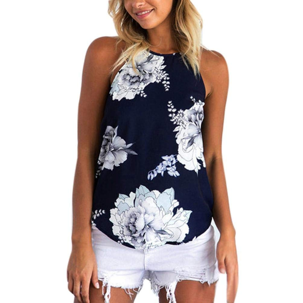 Women's Tank Top, ❤️ZYEE❤️ Chiffon Backless Vest Top Halter Strap Tank Top Camisole CropTop Floral Print Swing Tunic Cami Top Tee Flowy Chiffon Tank Tops Tunic Blouse (XL, Dark blue)