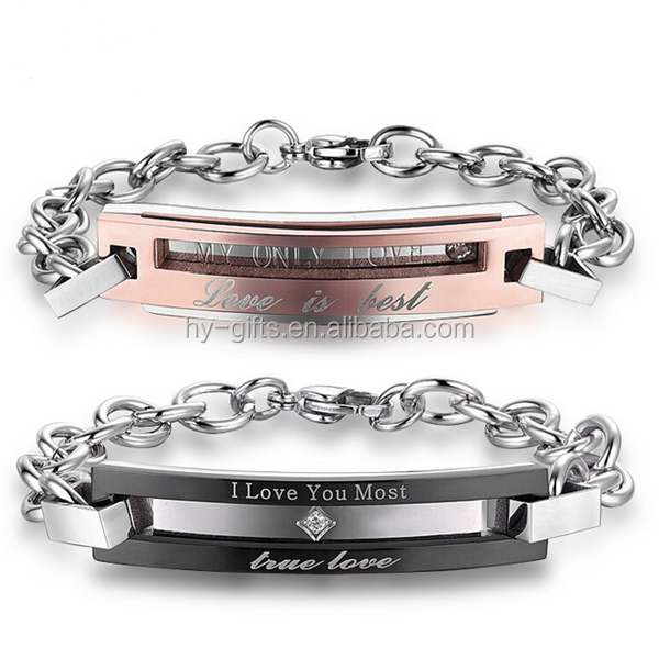 men women couple bracelet link chain stainless steel pairs bracelet