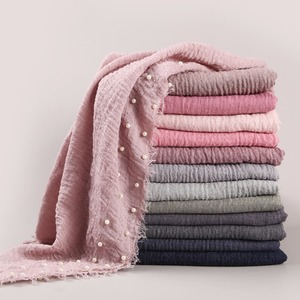 New Designs Cotton Scarf Beads Bubble Pearl Wrinkle Shawls Hijab Drape Stitching Fringe Crumple Muslim Scarves/Scarf 55 Colors