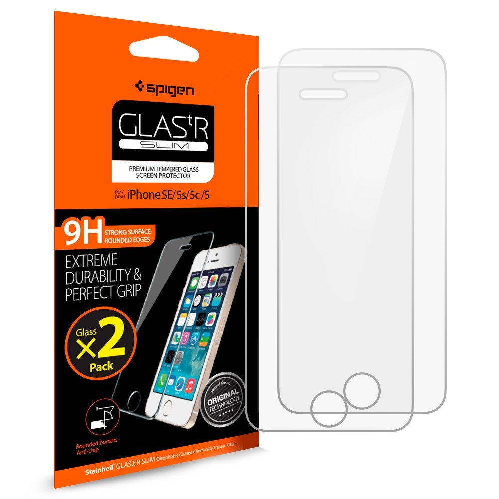 6e1e854d28c Get Quotations · Spigen iPhone SE Screen Protector Tempered Glass   2 Pack    Case Friendly for iPhone SE