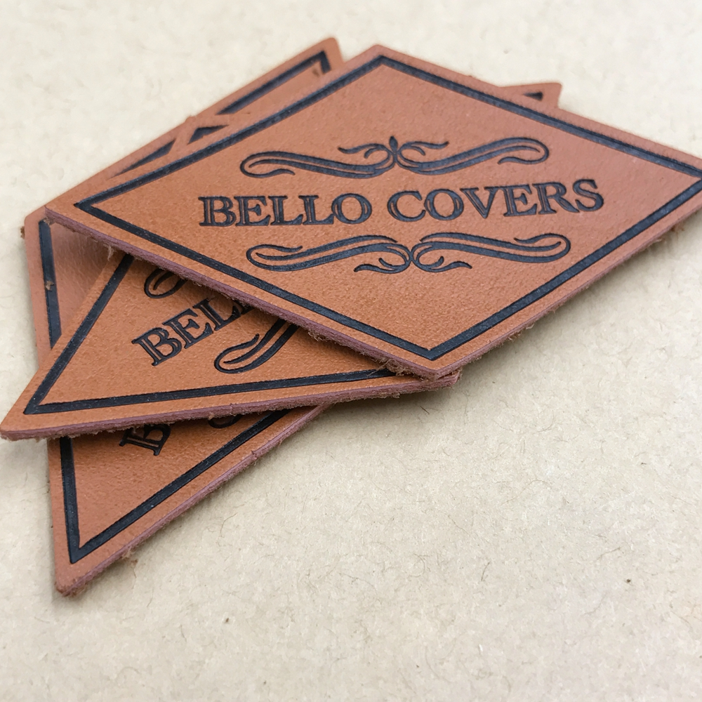 custom embossed leather clothing brown leather patch