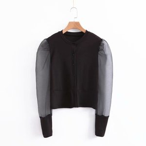 New design o neck puff sleeve blouse ladies high street fashion tops