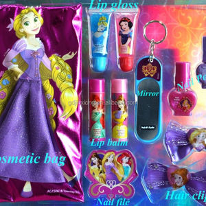Kids makeup set cosmetics include lip gloss and nail polish and drying holder/hair clip/drying holder and mirror