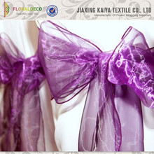 Fancy colorful crystal organza chair sash for wedding