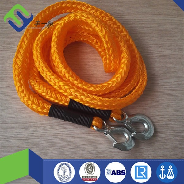 Factory price emergency 16mm hollow braided pp car tow rope