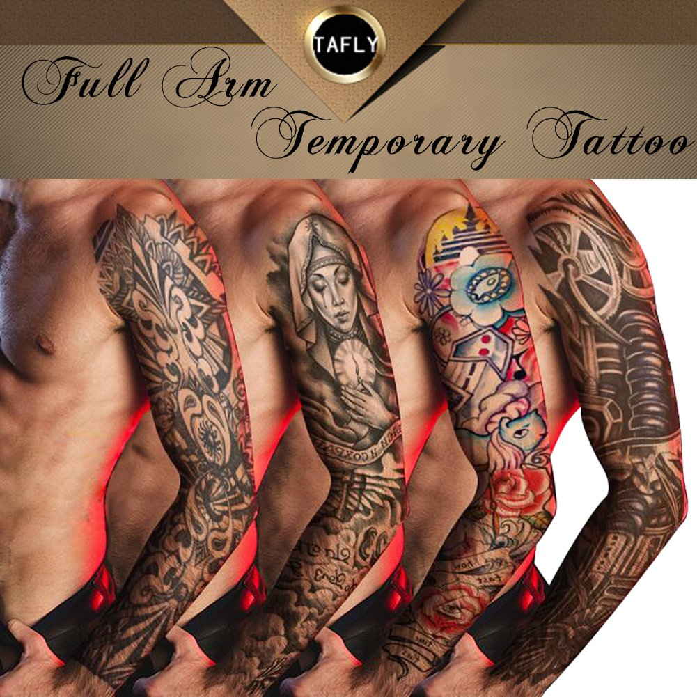e84b2216623eb Get Quotations · TAFLY 4 Sheets Full Arm Temporary Tattoos Waterproof  Transfer Tattoos,Skull,Shield,Mechanical