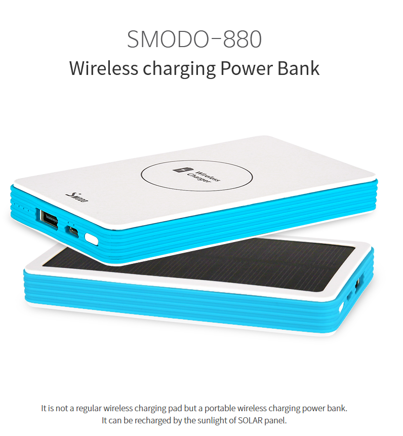 Mobile charger for iPhone and Samsung wireless charger solar 5000 mAh power bank wireless charger on sale