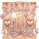 Bachelorette Party Decorations & Bridal Shower kit!Rose Gold Bride Foil Balloon, 6 Latex Balloons, Rose Gold Rain Curtain,Love