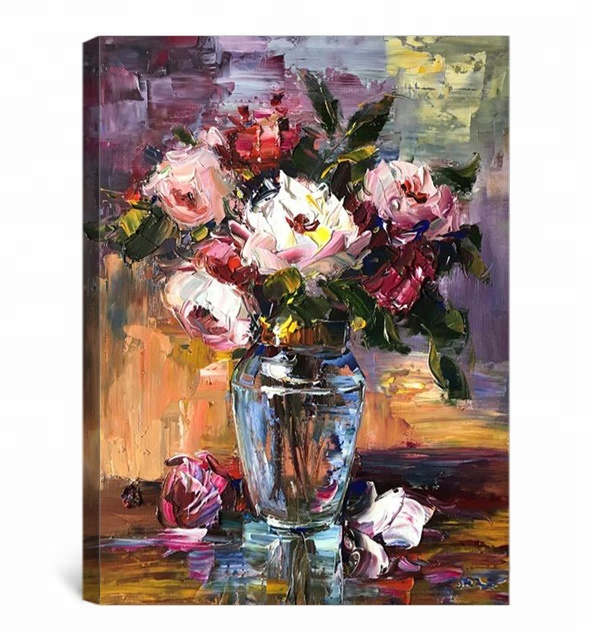 Wholesales beautiful canvas flower oil painting wall <strong>pictures</strong> for living room