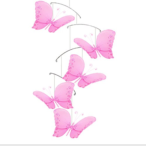 Butterfly Mobile Dark Pink Fuchsia Twinkle Nylon Mesh Butterflies Mobiles Decorations Decorate Baby Nursery Bedroom Girls Room Ceiling Decor Birthday Party Baby Shower Baby Crib Hanging Mobile 3D Art
