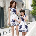 2016 Fashion Print Mother Daughter Dress Sleeveless Family Outfit Matching Summer Dresses For Ladies And Girls
