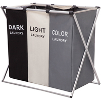 3 Compartment Laundry Hamper Basket with leg Aluminum Frame collapsible laundry basket Dirty Clothes Bag