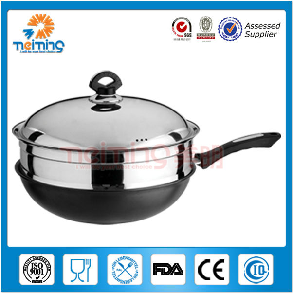 32cm double bottom Stainless steel skillet /fry pan
