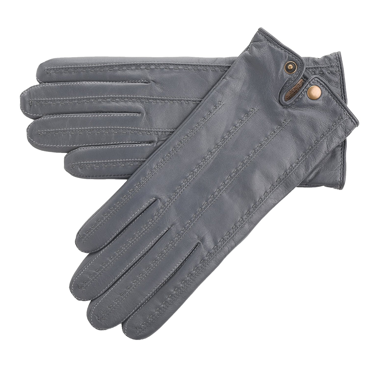 04088ecc796f6 Get Quotations · Lambland Womens/Ladies Simple Style Genuine Leather Gloves  with Popper Fastening in Grey Size 7