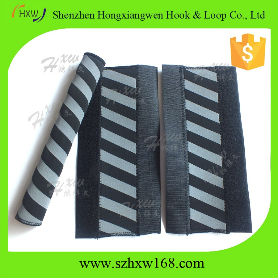 Hook loop sticker black neoprene bicycle chain stay guard with reflective strip