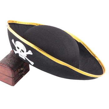 halloween props Children Pirates of the Caribbean skull printed pirate hat with golden brim