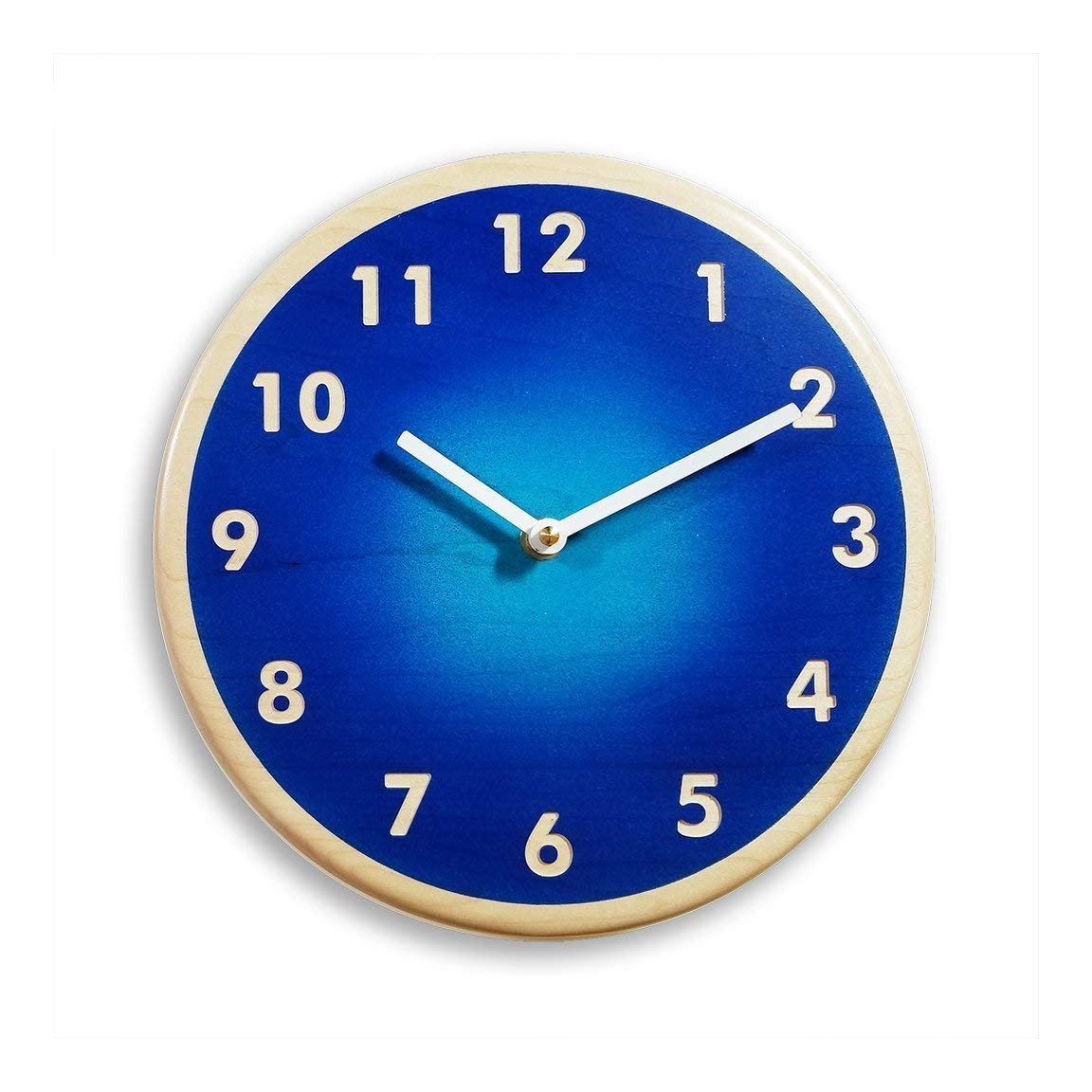 Maple wood wall clock. Modern wall clock. Blue wall clock. 10 inch wall clock. Deep blue and light blue airbrushed colors.