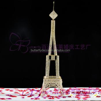 4ft Gold Crystal Bead Metal Paris Eiffel Tower Statue Vase