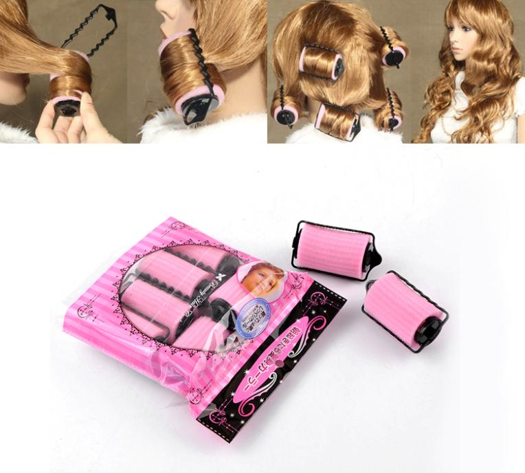 "1 Packet(6PCs)Pink Hair Rollers Curlers Hair Tools 8.3x4.5cm(3 2/8""x1 6/8"")"