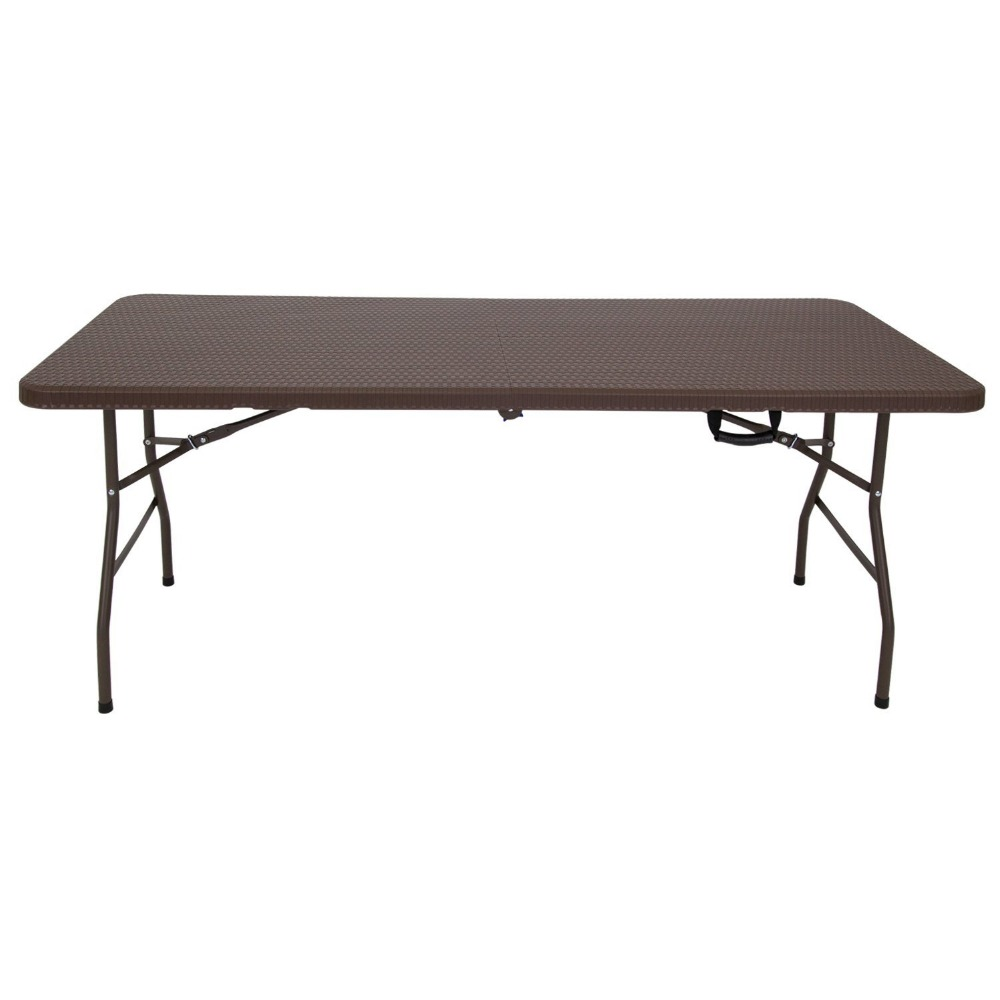 6 foot rattan blow mold HDPE folding table camping,HDPE fold up tables for camping