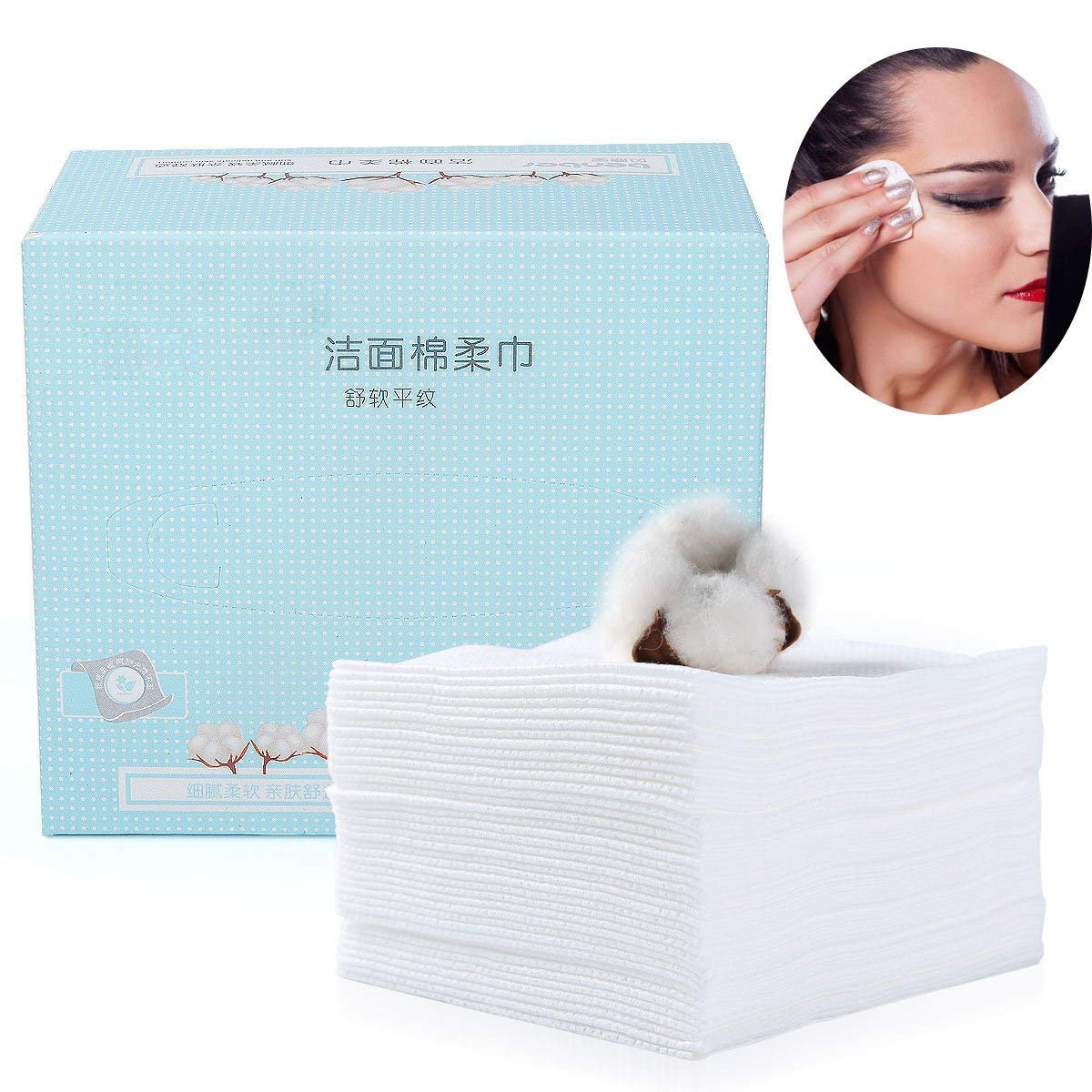 80Pcs Facial Cotton Tissue Soft Cotton Towel, Absorbent Cotton Pad Large (120 mm x 185 mm) for Face Eye Makeup Remover and Nail Polish,Wet/Dry Use Cleaning Face Wipes