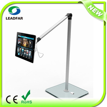Folding tablet floor stand with separated tablet holder and temper folding tablet floor stand with separated tablet holder and temper glass base floor stand for tyukafo