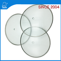 Glass lid for pot with stainless steel rim